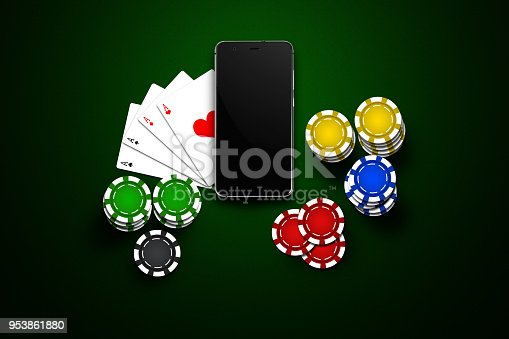 istock Online casino, mobile casino, mobile phone, chips cards on a green background. Gambling games. View from above. 953861880