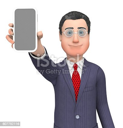 Character Businessman Showing World Wide Web And Website 3d Rendering
