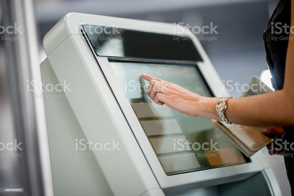 Online check-in stock photo