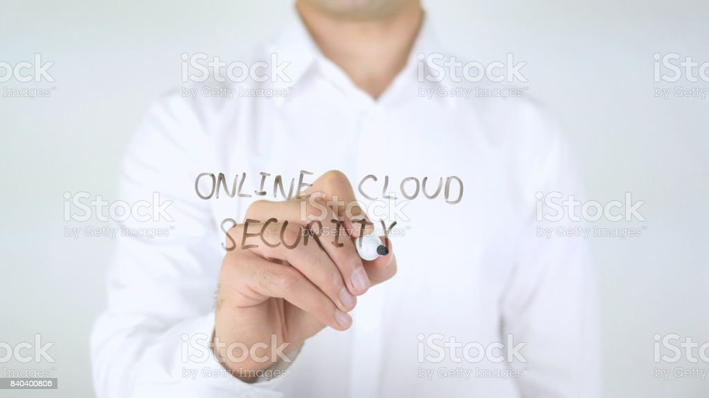 Online Cloud Security, Man Writing on Glass stock photo