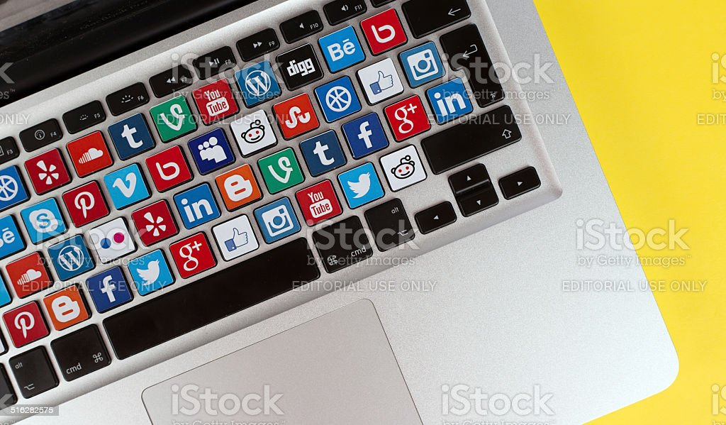 Online Communication Concept - Social Media Buttons stock photo