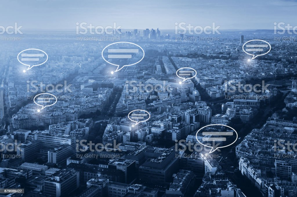 online communication concept, social network stock photo
