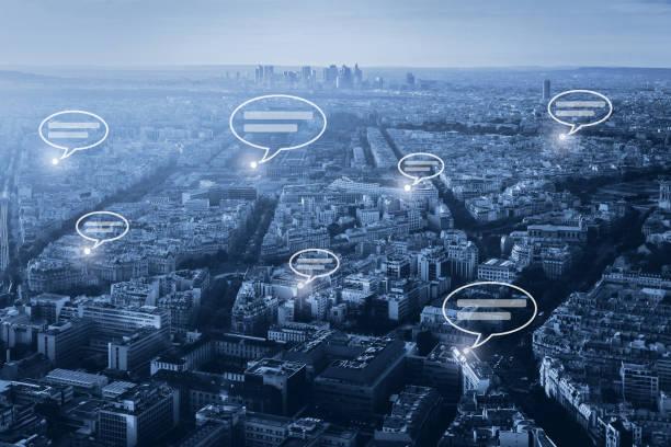 online communication concept, social network stock photo