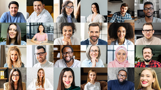 Crowded video screen with diverse multinational people on it. Video meeting online for office employees working remotely. Multiracial colleagues involved in online conference, video call. Hr data base