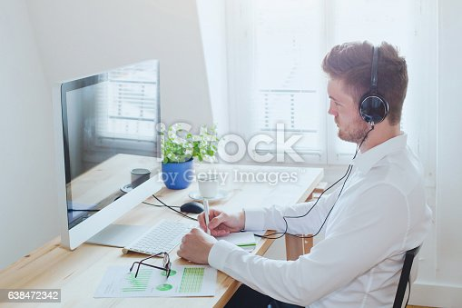istock online conference or webinar, business man working in the office 638472342