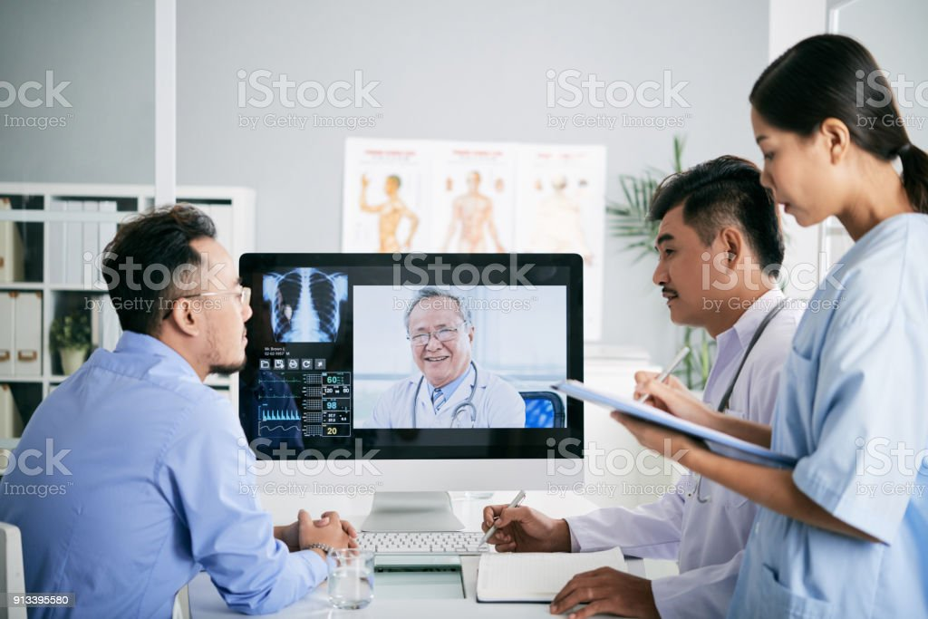 Online consultation stock photo