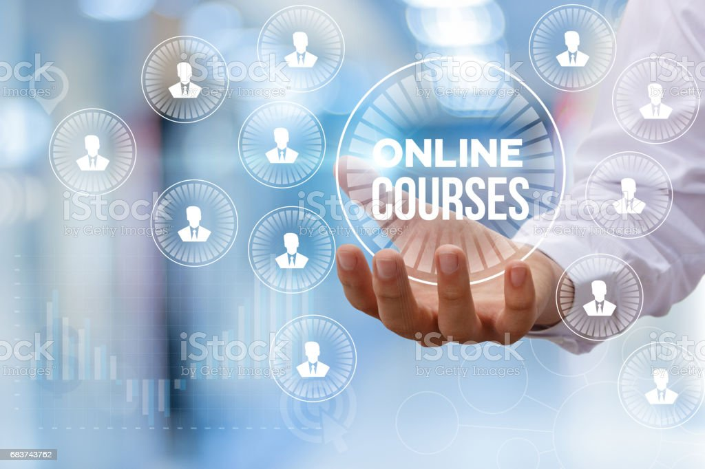 Online course in hand. stock photo