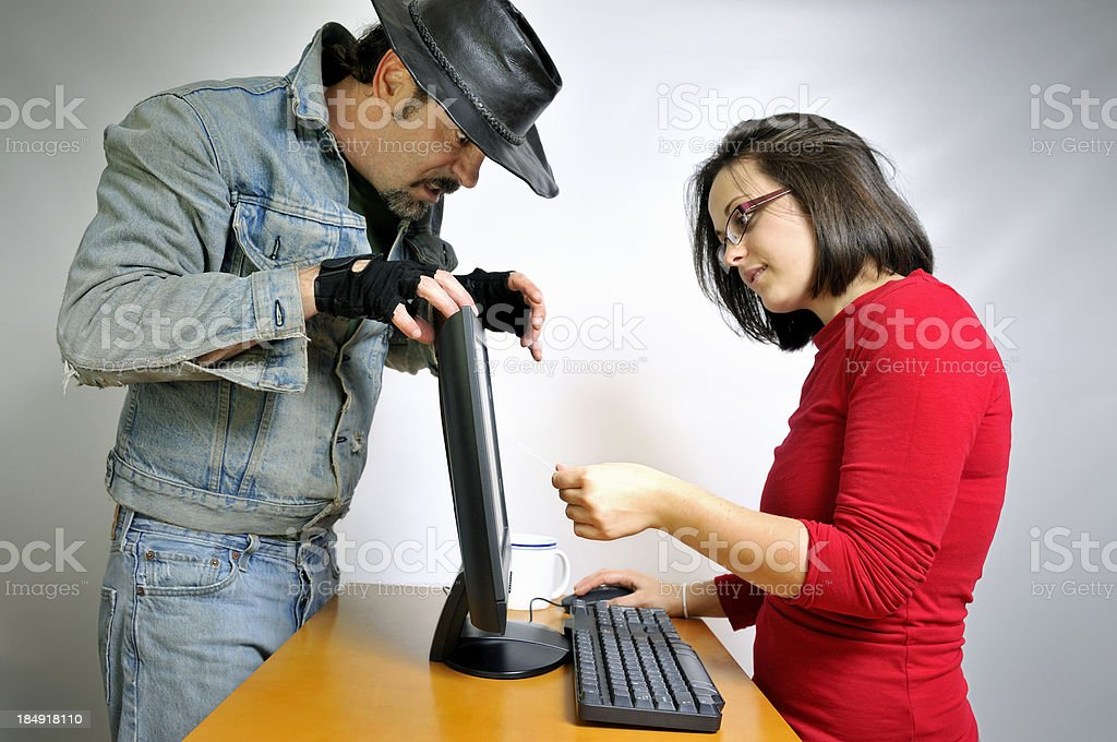 Online Credit Card Thief Poised to Strike stock photo