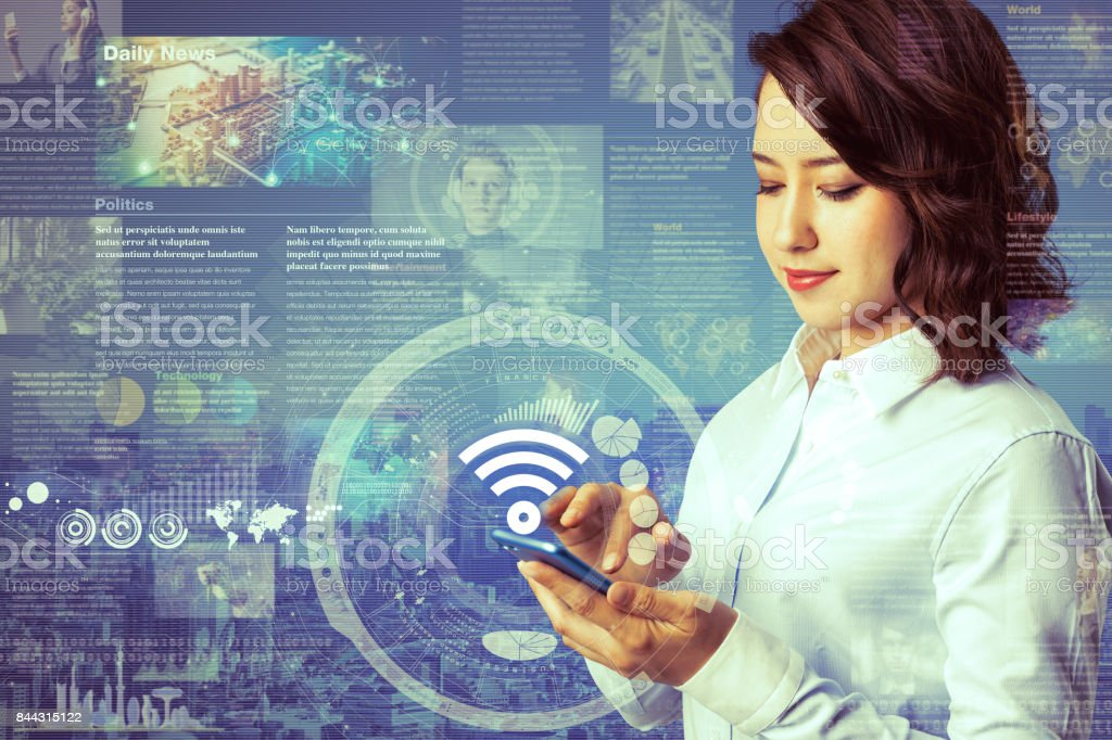online curation media concept. electronic newspaper. young woman holding smartphone and various news images. abstract mixed media. stock photo
