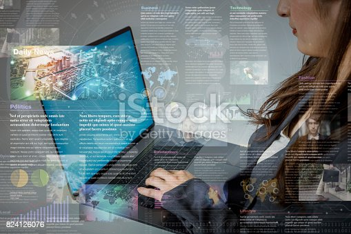 online curation media concept. electronic newspaper. young woman holding laptop PC and various news images. abstract mixed media.