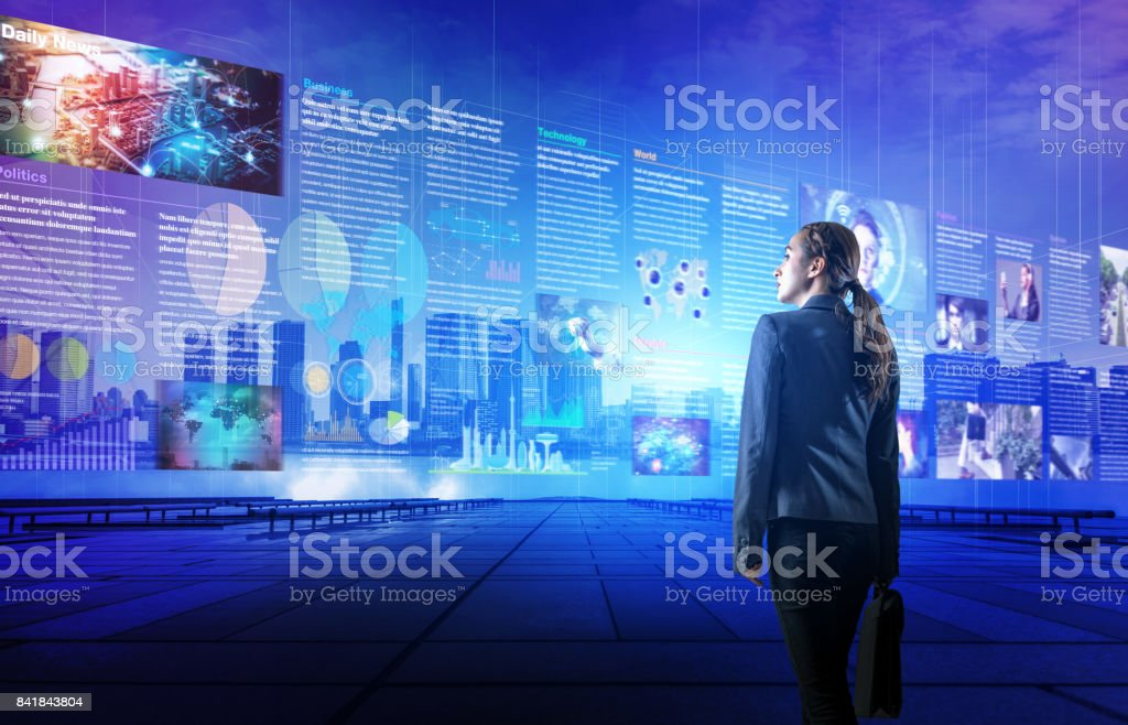 online curation media concept. electronic newspaper. young woman holding laptop PC and various news images. abstract mixed media. stock photo