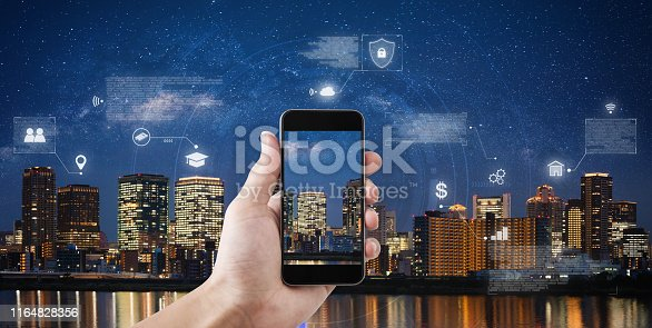 1075752640istockphoto Online data security connection by mobile smart phone and smart technology. Hand holding mobile phone connect to internet data 1164828356