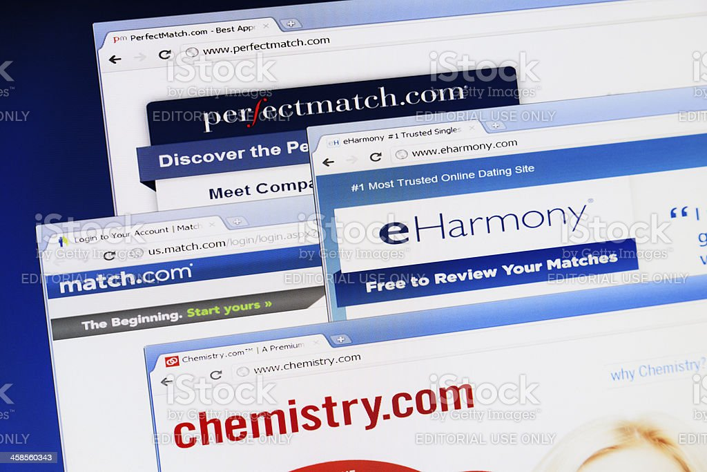 Online dating on computer screen. Perfectmatch, match.com, eHarmony, chemistry.com