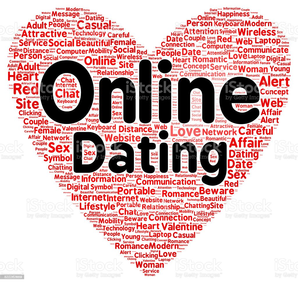 Online dating word cloud shape stock photo