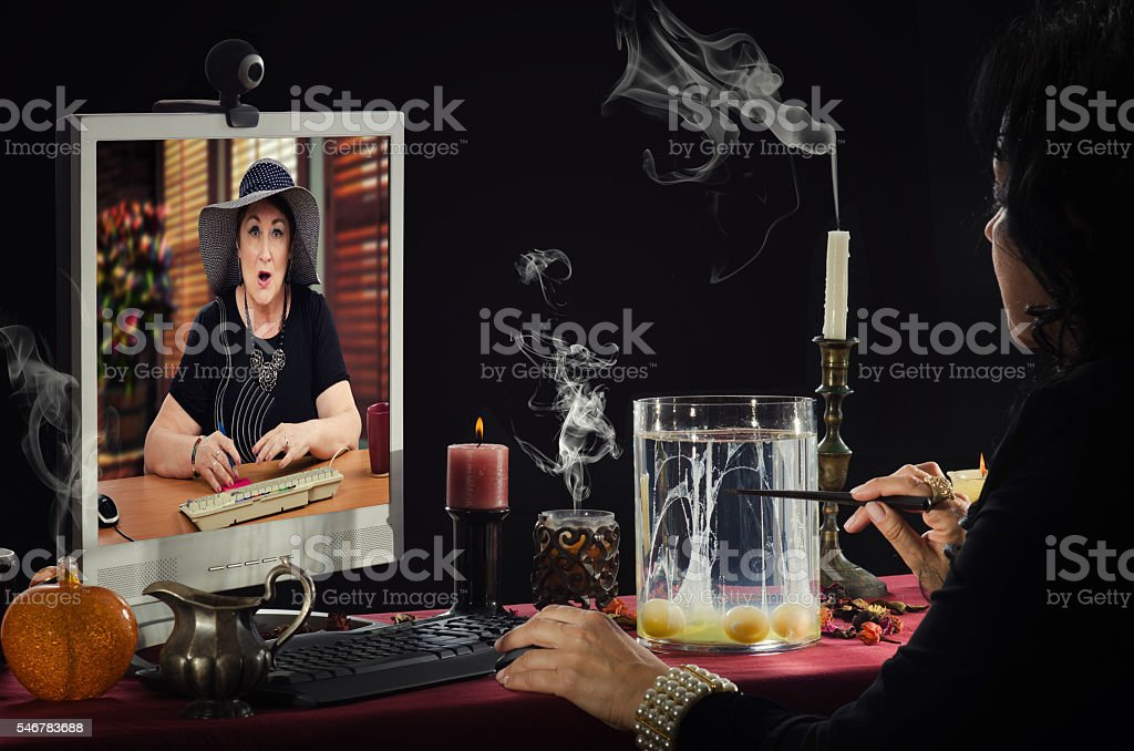 Online divination by eggs stock photo