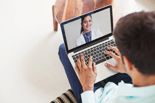 Online doctor consultation stock photo