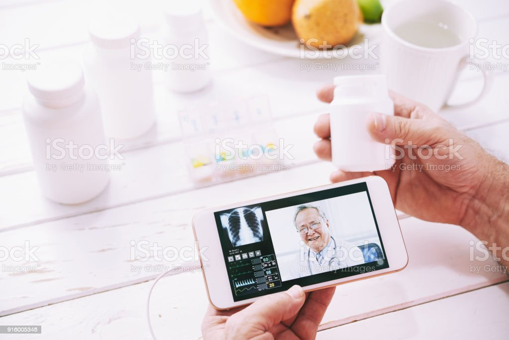 Online doctor consultation stock photo