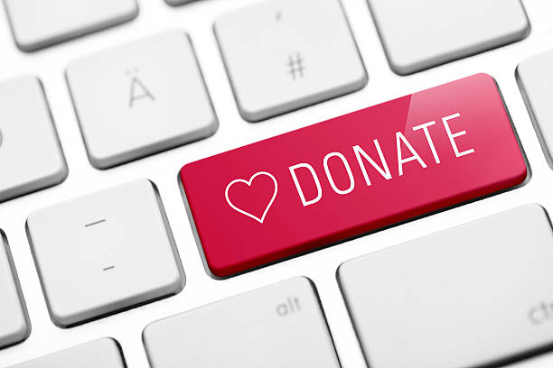 online donate key on keyboard stock photo