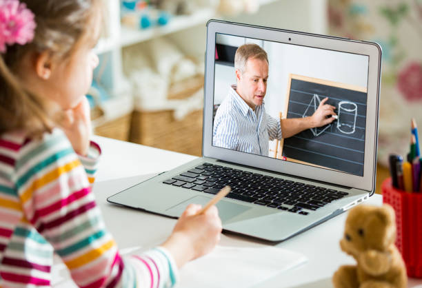 Online education and e-learning concept. stock photo