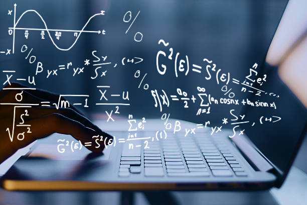Online education concept Hands using laptop with mathematical formulas. Online education concept mathematical symbol stock pictures, royalty-free photos & images