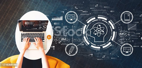 Online education concept with person using a laptop on a white table