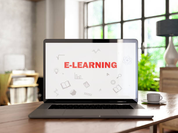 Online Education E-Learning Concept with Laptop and Books stock photo