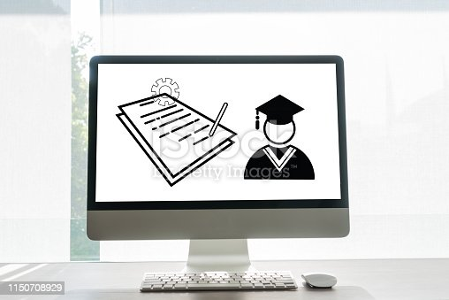 1037253568istockphoto Online education, icon paperwork document sheet and graduated study abroad international university conceptual in desktop computer monitor. Exam test certificate study can learn by internet technology 1150708929