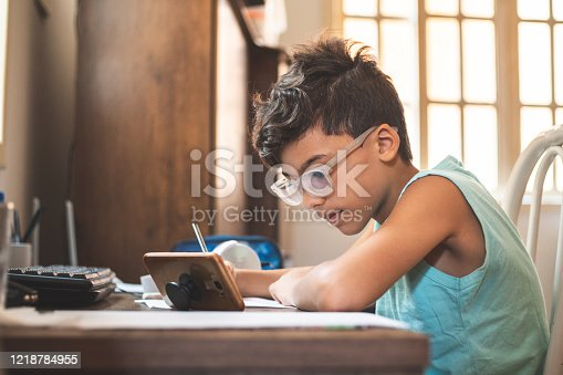 Boy searching the internet at home