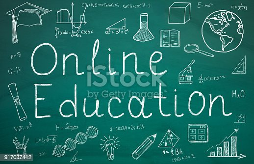 istock Online Education Text On Green Chalkboard 917037412