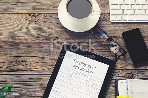 istock Online employment or job application form. 937103544