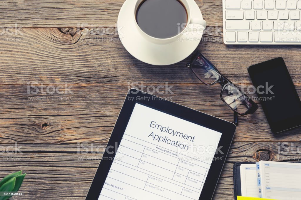Online employment or job application form. stock photo