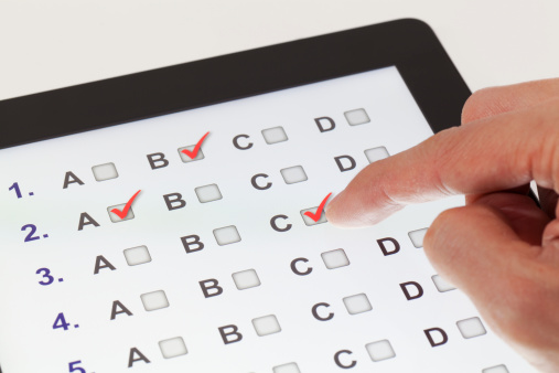 Tablet with multiple-choice questions