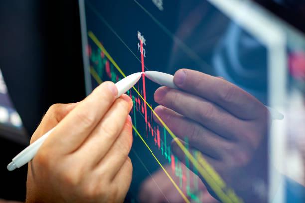 Online-Finanzanalyse auf einem Computermonitor. – Foto