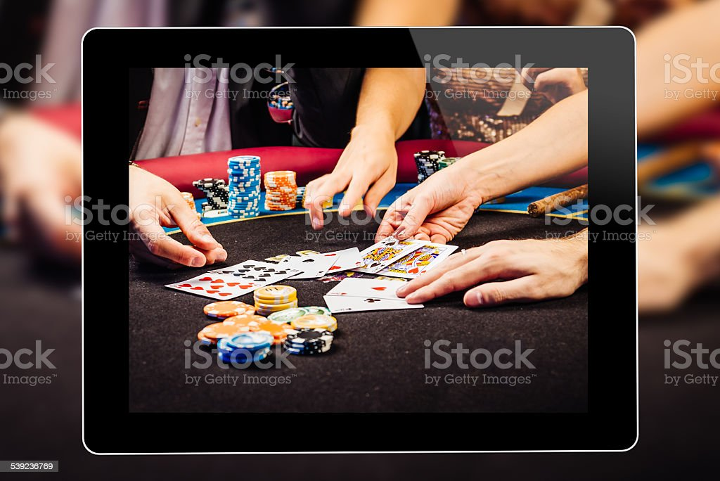 Online Gambling On Tablet royalty-free stock photo