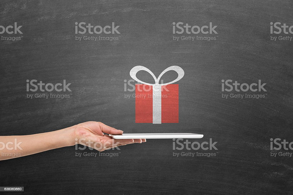Online gift shopping concept stock photo