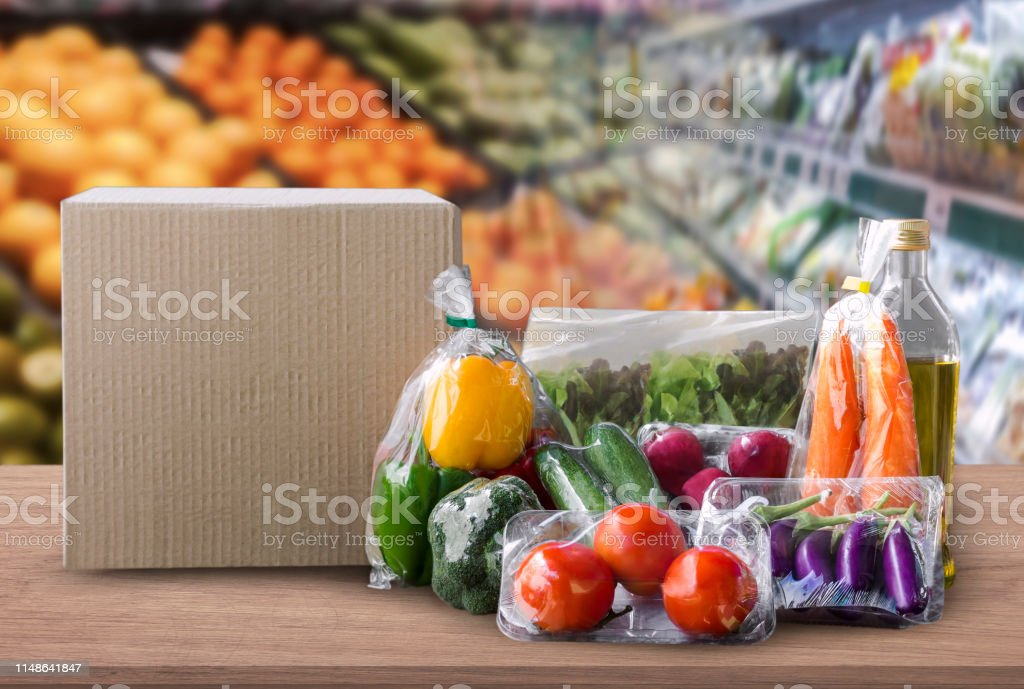 Online grocery concept. Shopping order online ingredients food for...