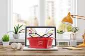 istock Online Grocery Shopping From Home 1214729071