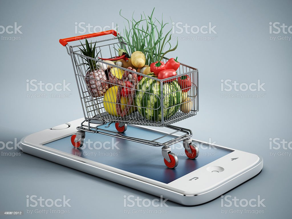 Online grocery shopping stock photo