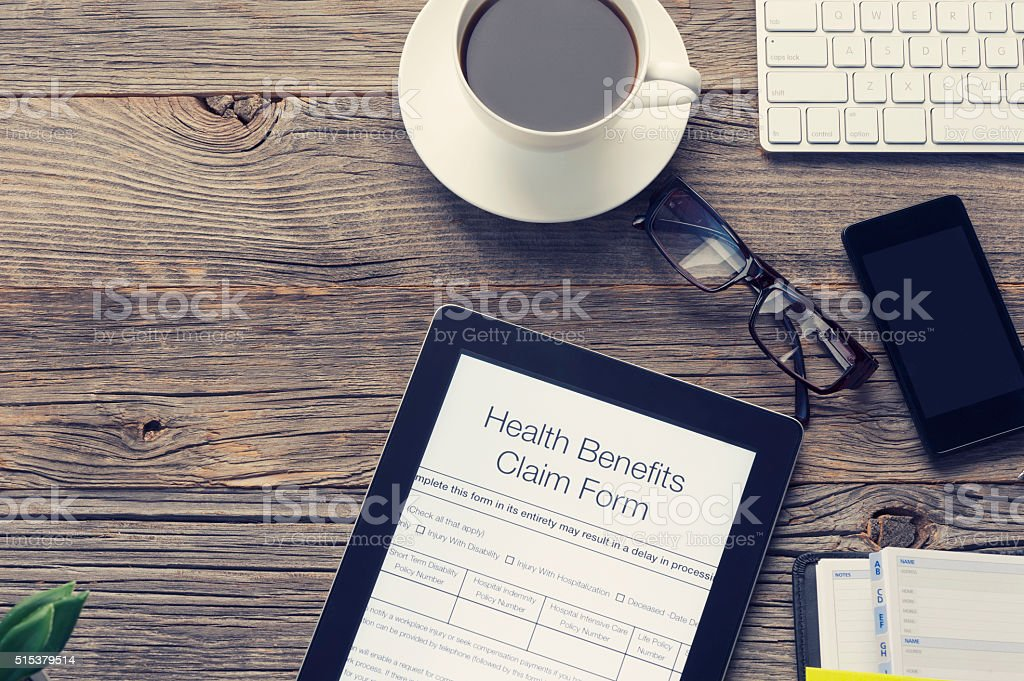 Online health benefits claim form. stock photo
