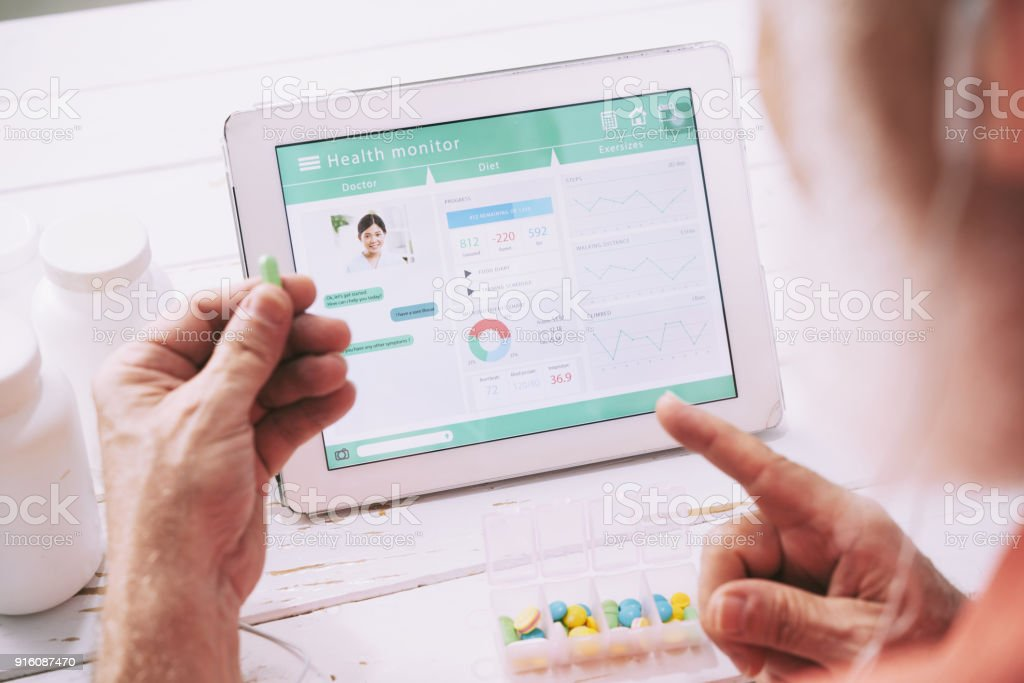 Online health monitoring stock photo