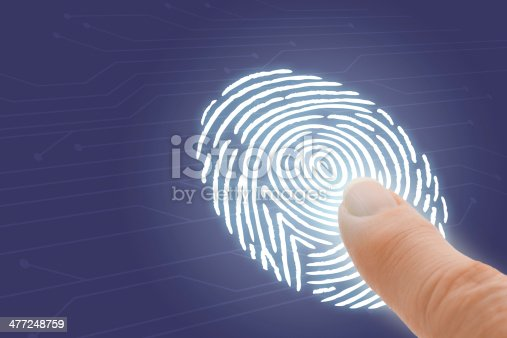 671053272 istock photo Online Identification and Security with Finger Pointing at Fingerprint 477248759