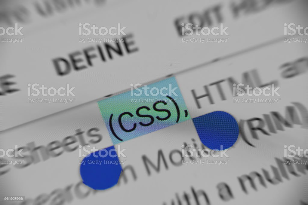 Online information about Cascade Style Sheet short form 'CSS' royalty-free stock photo
