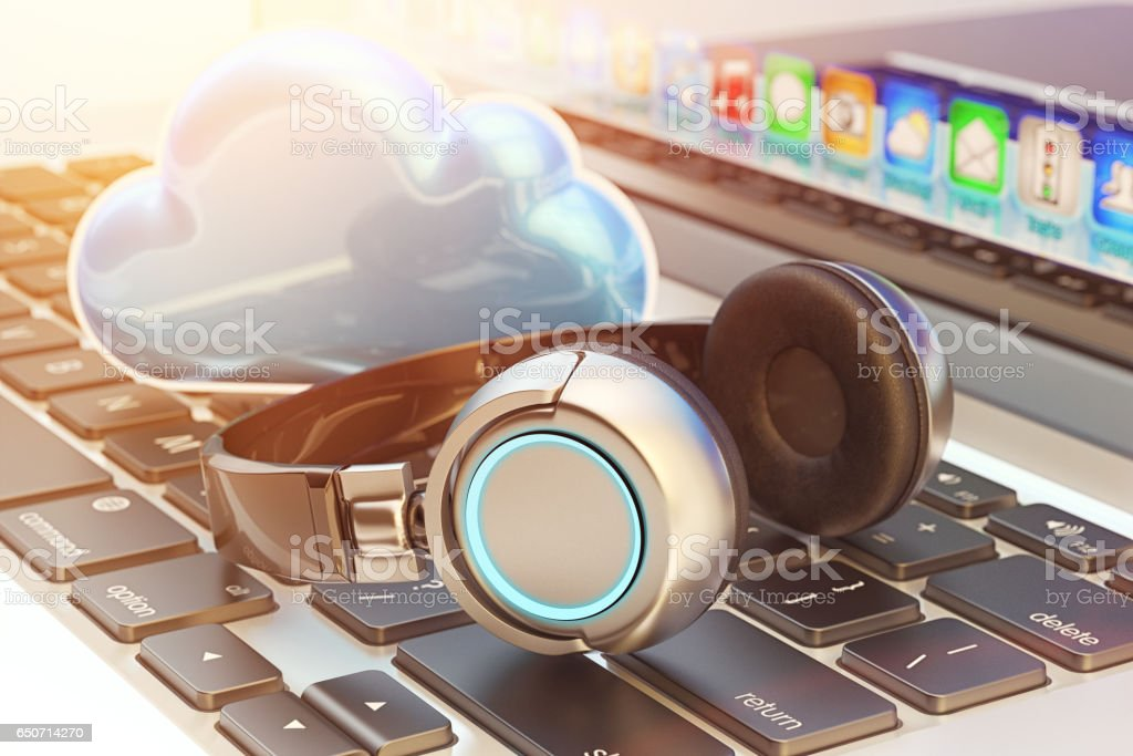 Online internet audio streaming service, cloud music and multimedia storage concept stock photo
