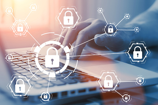 Online Internet Secure Payment And Network Safe Communication And Banking Concept Person Pay In Web Via Computer Locks And Padlocks On Diagram Stock Photo - Download Image Now