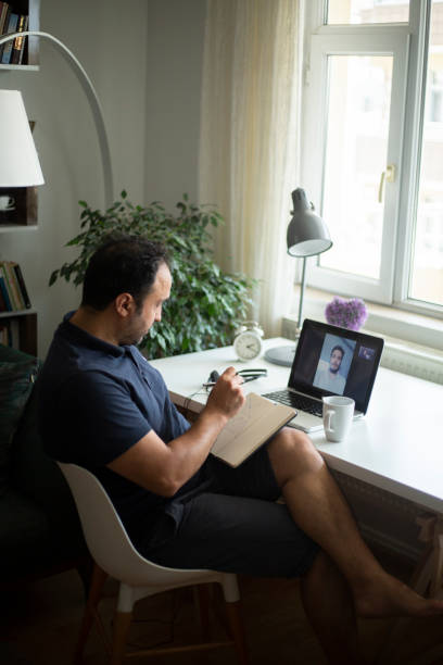 Online interview stock photo