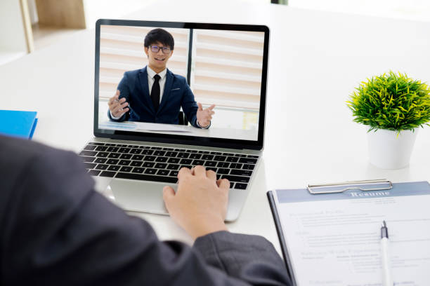 Online job interview. Online conference. Business online. stock photo