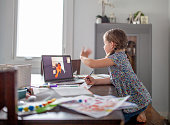 Little girl learns from home while her teacher teaches remotely.