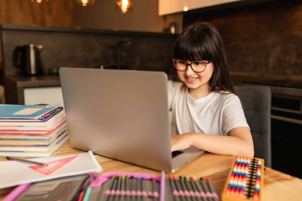 Online learning at home stock photo