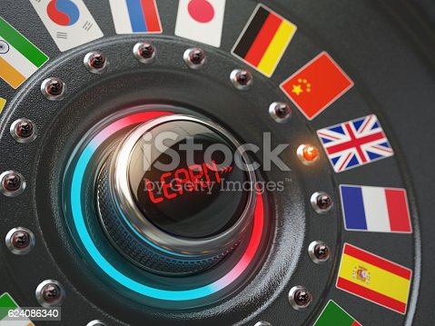 istock Online learning language concept. Switch knob button with flags. 624086340