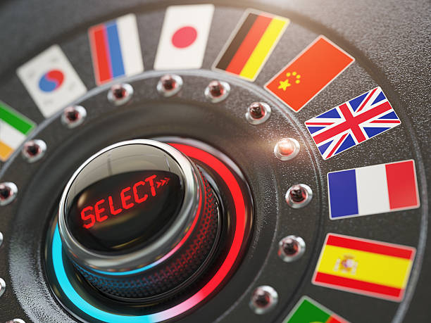online learning language or choice language on the web site - translator stock photos and pictures